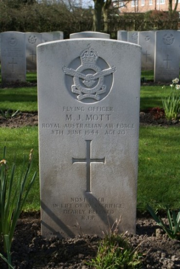 Grave of Flying Officer Malcolm James Mott at Chester Blacon Cemetery