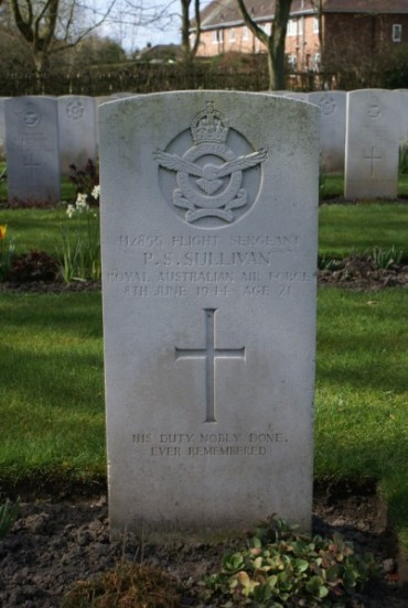 Grave of Flight Sergeant Peter Selwood Sullivan at Chester Blacon Cemetery