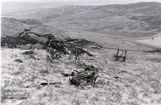 The crash site of Avro Anson LT433 above Llyn Cowlyd during the 1960s