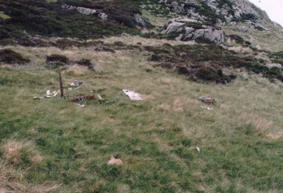 Wreckage at the crash site of Avro Anson LT433 above Llyn Cowlyd