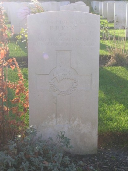 Grave of Pilot Officer Denis Patrick Kyne at Harrogate Stonefall Cemetery