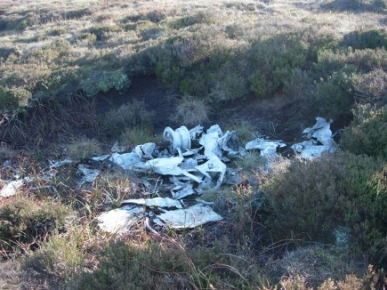 Wreckage at the crash site of Airspeed Oxford LX745 on Shining Tor, Derbyshire