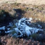 Wreckage at the crash site of Airspeed Oxford Mk.I LX745 on Shining Tor, Derbyshire