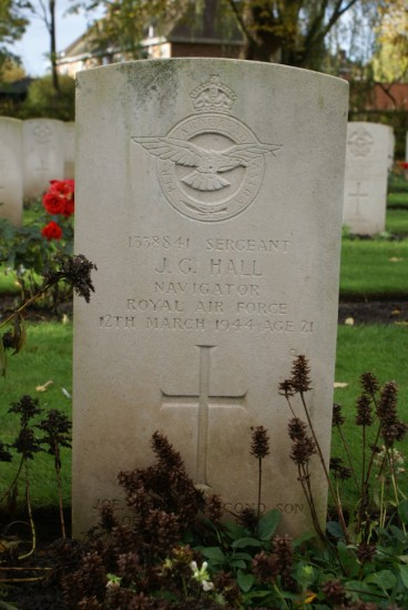 Grave of Flight Sergeant Joseph George Hall at Chester Blacon Cemetery