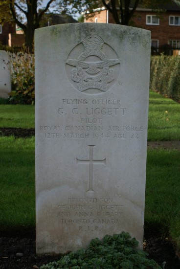 Grave of Flying Officer Gerald Campbell Liggett at Chester Blacon Cemetery
