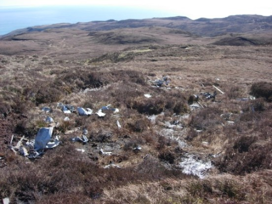 Aircraft wreckage at the crash site of Bristol Beaufighter Mk.X LZ455 on Beinn Breach, Mull of Kintyre
