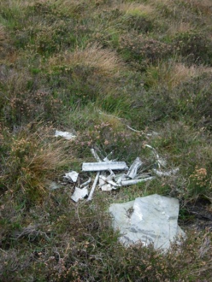 Wreckage at the crash site of Vickers Wellington Mk.XIII MF175 on South Barrule, Isle of Man