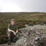 Alan at the crash site of Avro Anson Mk.I MG445 on Slieau Ruy, Laxey