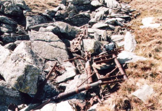 Undercarriage wreckage at the crash site of Avro Anson MG804, Foel Fras, the Carneddau