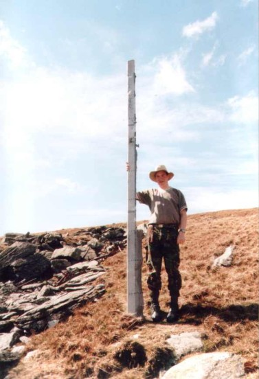 Alan at the crash site of Avro Anson MG804 on Foel Fras
