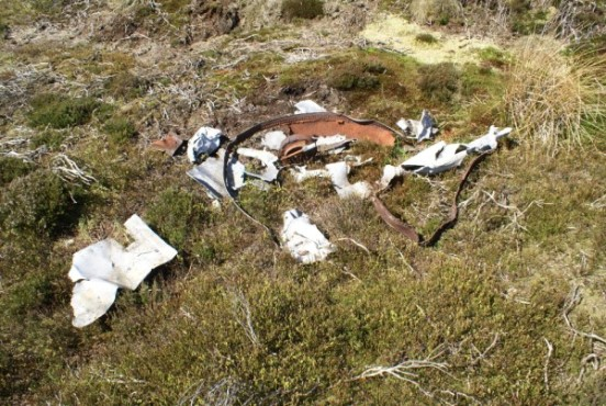 Wreckage at the crash site of Miles Martinet MS554 on West Bolton Moor in the Yorkshire Dales