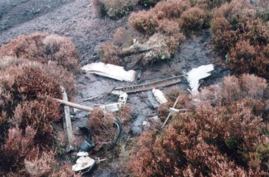Wreckage at the crash site of Boulton Paul Defiant N1651 near Marshaw, Forest of Bowland, Lancashire