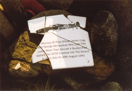 Plaque at the crash site of Boulton Paul Defiant Mk.I N3328 at Near Bleaklow Stones, Bleaklow, Derbyshire