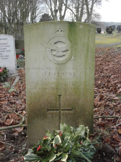 Grave of Aircraftman 1st Class Thomas Ezra Clark at Ashbourne Cemetery