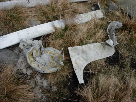 Wreckage at the crash site of Avro Anson N4919 on Wolfhole Crag, Tarnbrook, Lancashire