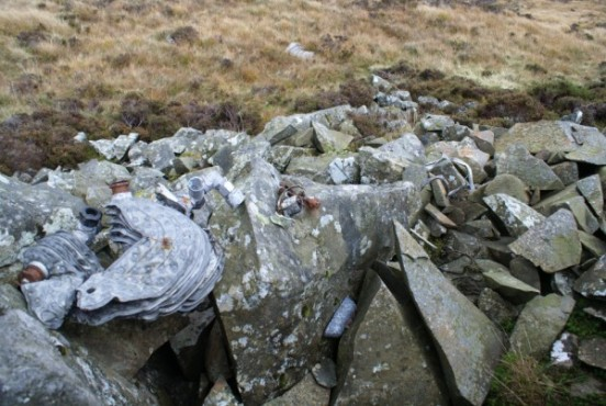 Wreckage at the crash site of Avro Anson N5032 near Craigencallie, Newton Stewart