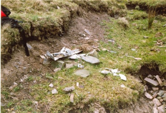 Small amount of wreckage at the crash site of Short Stirling N6075 on Merryton Low near Leek, Staffordshire