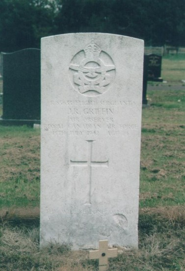 Grave of Flight Sergeant John Richard Griffin RCAF at Buxton Cemetery, Derbyshire