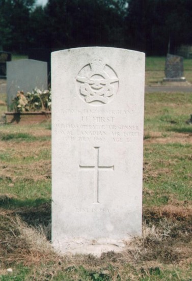 Grave of Flight Sergeant James Frederick Hirst RCAF at Buxton Cemetery, Derbyshire