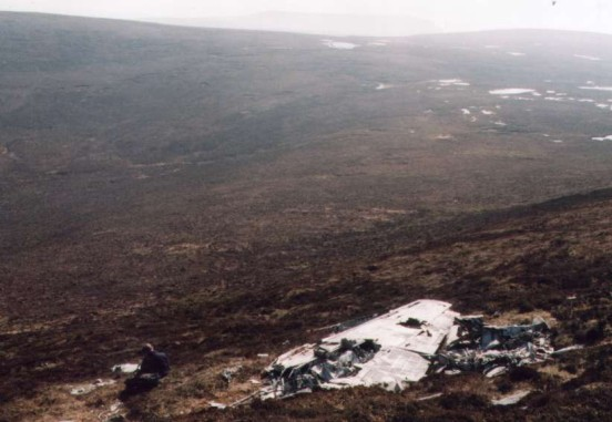 Large quantity of wreckage at the crash site of Lockheed Hudson N7310 on Withi Gill, Isle of Hoy