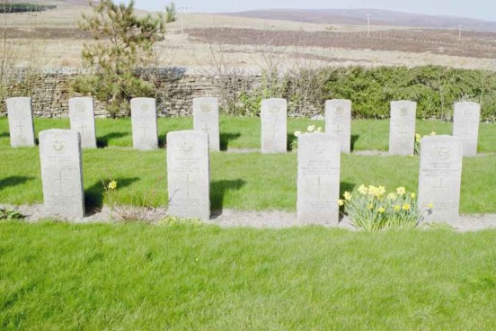 Graves of the crew of Lockheed Hudson N7310 at Lyness Naval Cemetery, Isle of Hoy