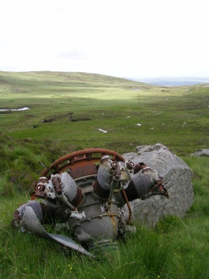 Armstrong Cheetah engine from Avro Anson Mk.I N9589 on Cairnsmore of Fleet, Dumfries & Galloway