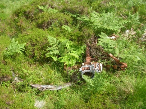 Undercarriage wreckage at the crash site of Avro Anson Mk.I N9589 on Cairnsmore of Fleet, Dumfries & Galloway