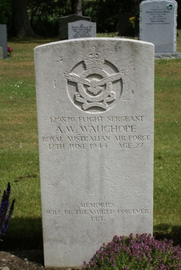 Grave of Flight Sergeant Archibald William Wauchope at Stoneykirk Cemetery near West Freugh
