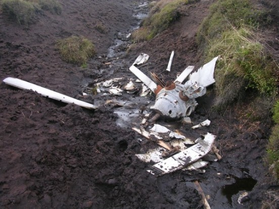 Armstrong Siddeley engine at the crash site of Avro Anson Mk.I N9853 on Edale Moor, Kinder Scout