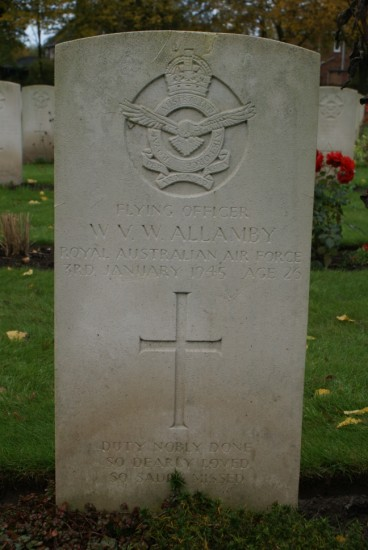 Grave of Walter Vernon Wilfred Allamby at Chester Blacon Cemetery, Cheshire