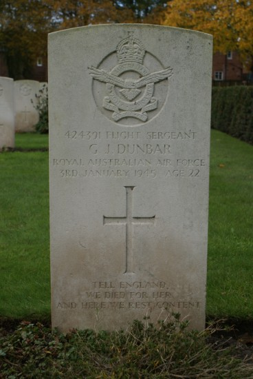 Grave of Geoffrey James Dunbar at Chester Blacon Cemetery, Cheshire