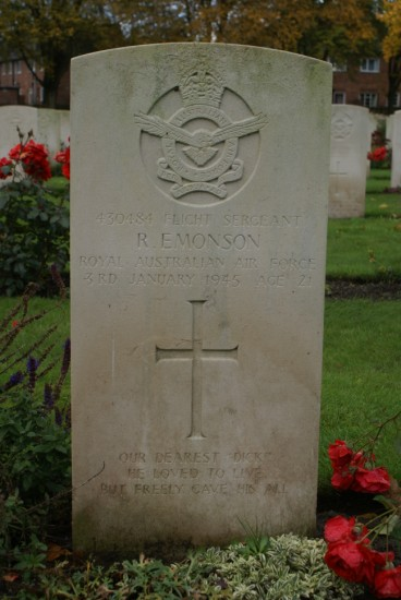 Grave of Richard Emonson at Chester Blacon Cemetery, Cheshire