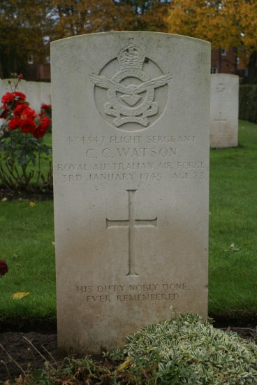 Grave of Cleveland Charles Watson at Chester Blacon Cemetery, Cheshire