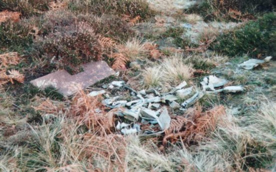 Wreckage at the crash site of Avro Lancaster NF963 near Ellingstring, Yorkshire