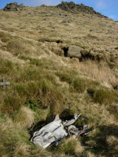 Wreckage at the crash site of Avro Anson NL185, The Cloughs, Kinder Scout, Edale