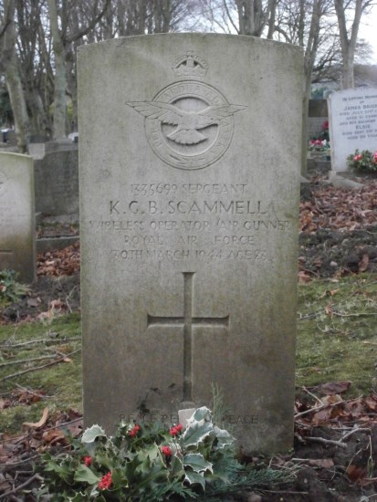 Grave of Sergeant Kenneth George Bruce Scammell at Ashbourne Cemetery, Derbyshire