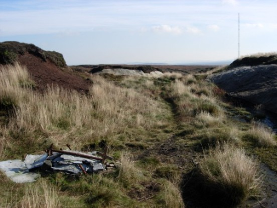 View from the crash site of Fairey Swordfish P4223 at Heydon Head, Black Hill towards the Holme Moss TV Mast