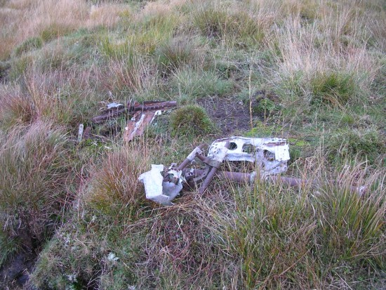 Wreckage from Blenheim P4848 on the lower slopes of Ben Inner, Carsphairn