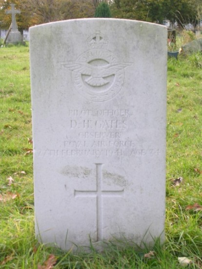 Grave of Pilot Officer Donald Henry Gates at Lambeth Tooting Cemetery, London