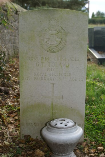 Grave of Wing Commander Gerald Thomas Toland at St Bartholomew parish church, Moreton Corbet, Shropshire