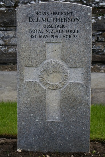 Grave of Sergeant Douglas John McPherson, Royal New Zealand Air Force, at Wick Cemetery