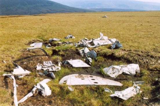 Aircraft wreckage at the crash site of Gloster Meteor VZ518 & WA791 on Slidden Moss, Longdendale