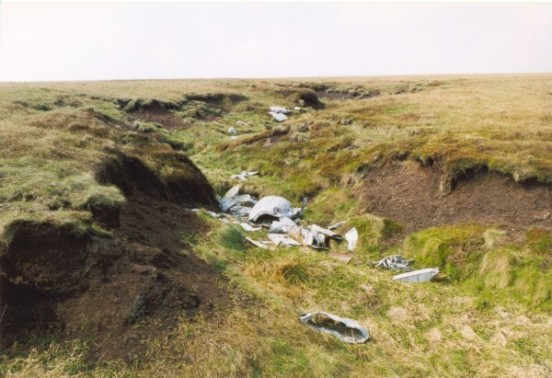 Aircraft wreckage in a gully at the crash site of Gloster Meteor VZ518 & WA791 on Slidden Moss, Longdendale
