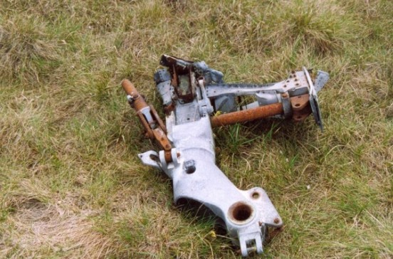 Undercarriage wreckage at the crash site of Gloster Meteor VZ518 & WA791 on Slidden Moss, Longdendale