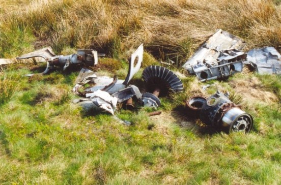 Engine parts at the crash site of Gloster Meteor VZ518 & WA791 on Slidden Moss, Longdendale