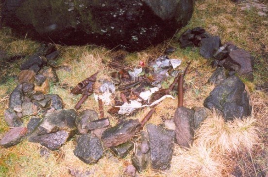 Wreckage at the crash site of de Havilland Mosquito PF395 at Dean Rocks near Dovestones Reservoir, Greenfield