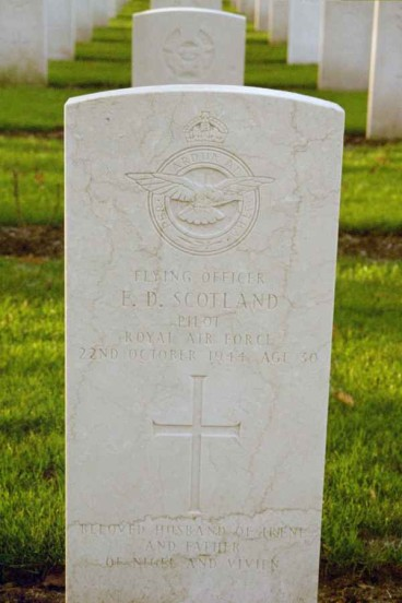 Grave of Flying Officer Ernest Douglas Scotland at Blacon cemetery, Chester