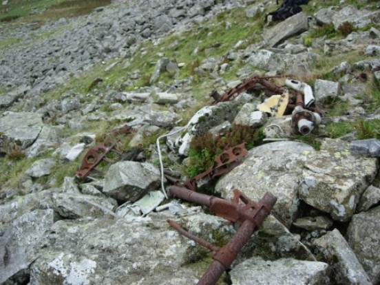 Aircraft wreckage, probably from Avro Anson Mk.I LT184, on Mynydd Perfedd