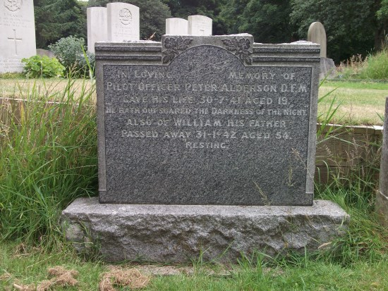 Grave of Pilot Officer Peter Alderson DFM at Scarborough Manor Road Cemetery, North Yorkshire