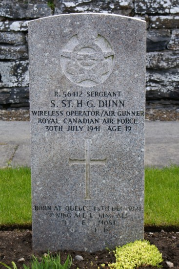 Grave of Sergeant Stuart St Helier Gwyllym Dunn, Royal Canadian Air Force, at Wick Cemetery, Caithness